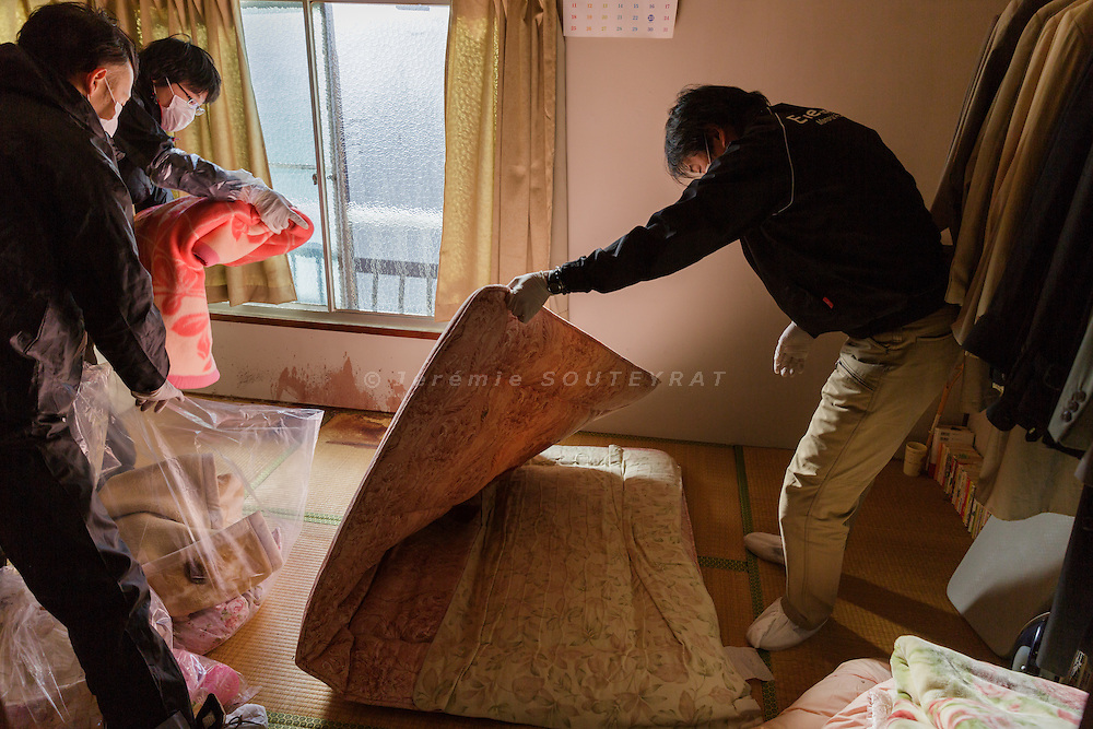 Nerima ward, Tokyo, Japan, January 13 2017 - Cleaning by a specialized company of a house in the Nerima area, where the tenant committed suicide on the second floor by wrist cutting. The tenant, a 40 yo man, lost his job one year before because of an illness and stopped paying his rent, after 10 years spent in this house. He had no family except his mother and his death was undiscovered during 2 weeks, until the doctor he used to visit tried to reach him. <br /> Since the 1980&rsquo;s, Japan is experiencing the phenomenon of kodokushi (lonely death): people dying alone and remaining undiscovered for a long period of time. About 30,000 lonely deaths are happening every year in Japan.