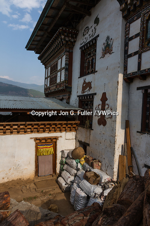 House painted with Bhutanese folk art in Sopsokha, Bhutan