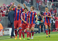 Fotball<br /> Tyskland<br /> 21.04.2015<br /> Foto: Witters/Digitalsport<br /> NORWAY ONLY<br /> <br /> 2:0 Jubel v.l. Torschuetze Jerome Boateng, Juan Bernat, Philipp Lahm, Rafinha (Bayern)<br /> <br /> Fussball, Champions League, Viertelfinale Rueckspiel, FC Bayern München - FC Porto