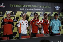 June 16, 2018 - Barcelona, Catalonia, Spain - (L-R) Fabio Quartararo (20) of France and Mb Conveyors - Speed Up Racing Speed Up, Marc Marquez (93) of Spain and Repsol Honda Team, Jorge Lorenzo (99) of Spain and Ducati Team, Andrea Dovizioso (4) of Italy and Ducati Team, Enea Bastianini (33) Of Italy And Leopard Racing Honda during the qualifying of the Gran Premi Monster Energy de Catalunya, Circuit of Catalunya, Montmelo, Spain.On 16 june of 2018. (Credit Image: © Jose Breton/NurPhoto via ZUMA Press)