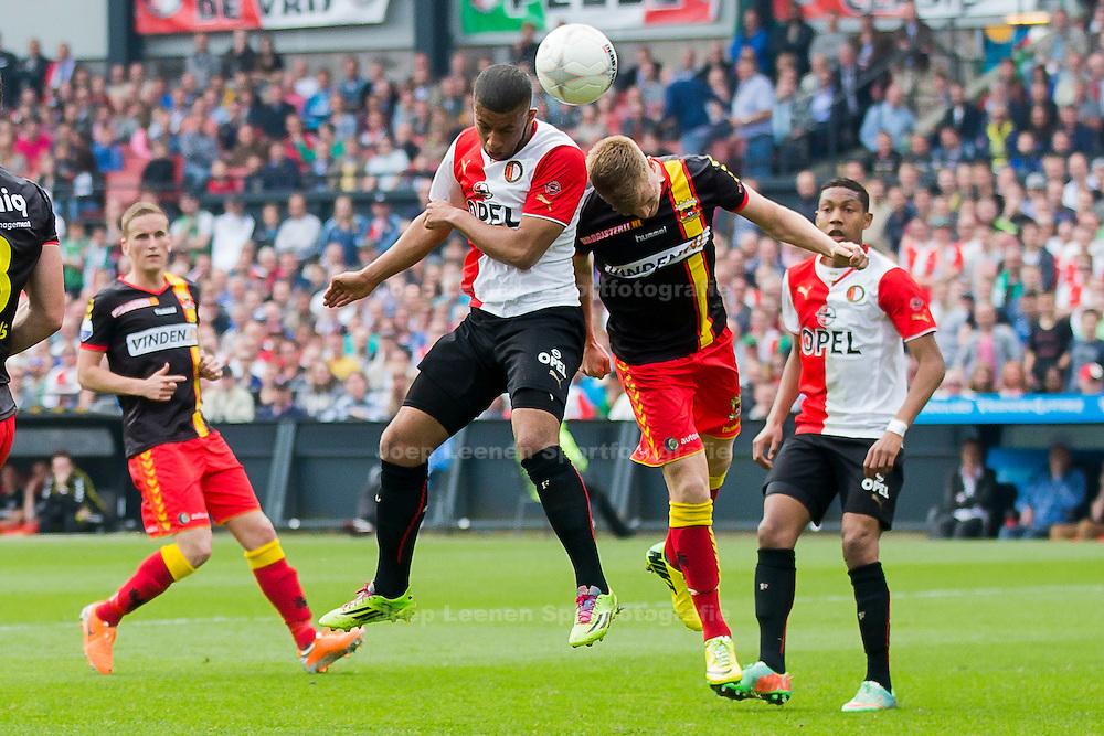ROTTERDAM, Feyenoord - Go Ahead Eagles, voetbal Eredivisie, seizoen 2013-2014, 30-03-2014, Stadion de Kuip, Feyenoord speler Tonny Vilhena (2L) scoort de 2-0, Go Ahead Eagles speler Jeffrey Rijsdijk (2R).