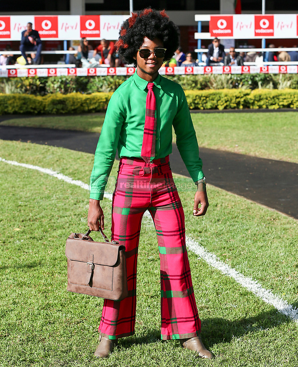 Durban. 070718. Fashion Theme for the 2018 Vodacom Durban July. - It Is Time - Every year a new theme is released to get the creative juices of the visitors and fashion desighners flowing. Picture Leon Lestrade. African News Agency/ANA. Ayanda Mnguni dressed by Catherine Zinge Afrika