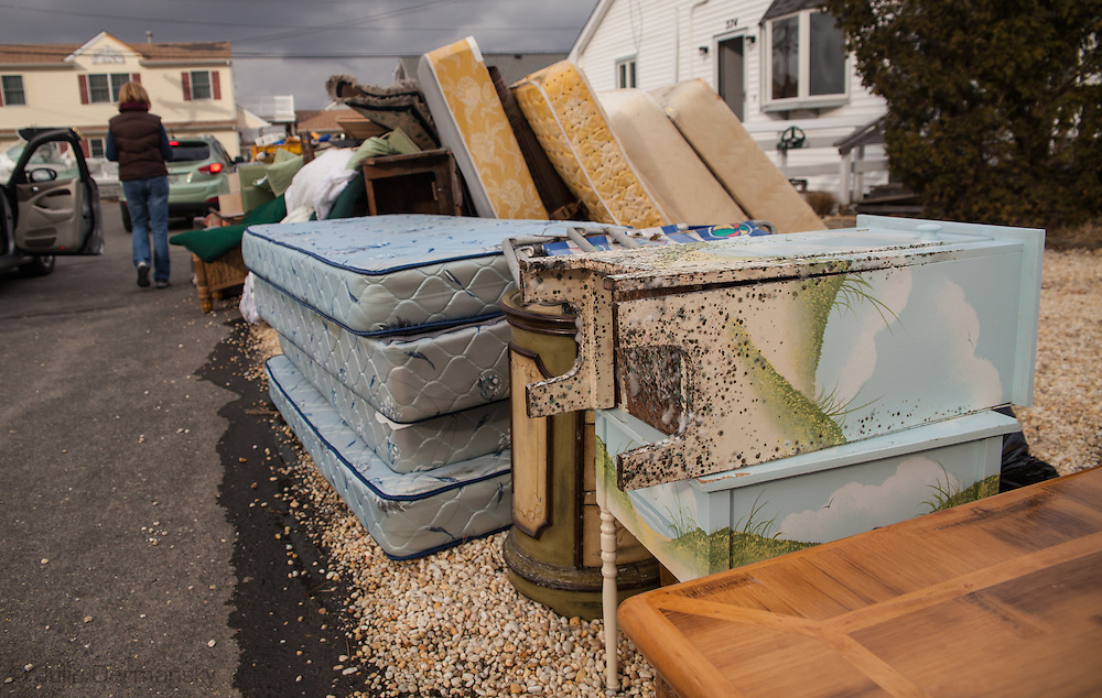 Chadwick Isalnd Beach NJ, November 18, moldy belongings outside of a residents home almost 3 weeks after Superstorm Sandy's surge.