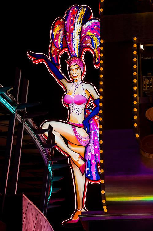 Show girl neon sign, Downtown Las Vegas, Nevada USA.