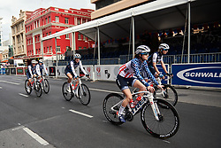 Ruth Winder (USA) arrives with her teammates for Stage 4 of 2020 Santos Women's Tour Down Under, a 42.5 km road race in Adelaide, Australia on January 19, 2020. Photo by Sean Robinson/velofocus.com