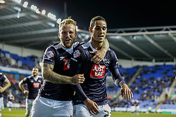 Goal, Derby County's Johnny Russell celebrates with Derby County's Thomas ince, Reading 0-1 Derby County - Mandatory by-line: Jason Brown/JMP - Mobile 07966 386802 15/09/2015 - SPORT - FOOTBALL - Reading, Madejski Stadium - Reading v Derby County - Sky Bet Championship