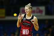 Hayley Saunders of the Tactix reacts to her teammate Jessica Moulds's dislocated finger. 2017 ANZ Premiership netball match, Central Pulse v Mainland Tactix at The Trusts Arena, Auckland, New Zealand. 11 June 2017 © Copyright Photo: Anthony Au-Yeung / www.photosport.nz