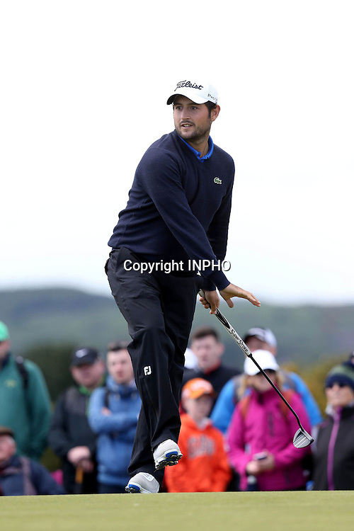 2015 Dubai Duty Free Irish Open Day 1, Royal County Down Golf Club, Co. Down 28/5/2015 <br /> Alexander Levy celebrates his putt on the 8th green<br /> Mandatory Credit &copy;INPHO/Presseye/Andrew Paton