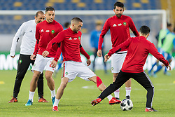 Hakim Ziyech of Morocco (M) during the warming up during the international friendly match between Morocco and Uzbekistan at the Stade Mohammed V on March 27, 2018 in Casablanca, Morocco