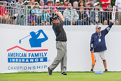June 22, 2018 - Madison, WI, U.S. - MADISON, WI - JUNE 22: Jeff Sluman tees off on the first tee during the American Family Insurance Championship Champions Tour golf tournament on June 22, 2018 at University Ridge Golf Course in Madison, WI. (Photo by Lawrence Iles/Icon Sportswire) (Credit Image: © Lawrence Iles/Icon SMI via ZUMA Press)