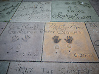 Movie stars hand and footrpints out the front of the Chinese Theatre, Hollywood