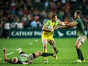 South Africa vs Australia during their HSBC Wold Rugby Sevens Series 3rd and 4th place Play off match as part of the Hong Kong Stadium on 10 April 2016 in Hong Kong, China. Photo by Mike Pickles / Future Project Group