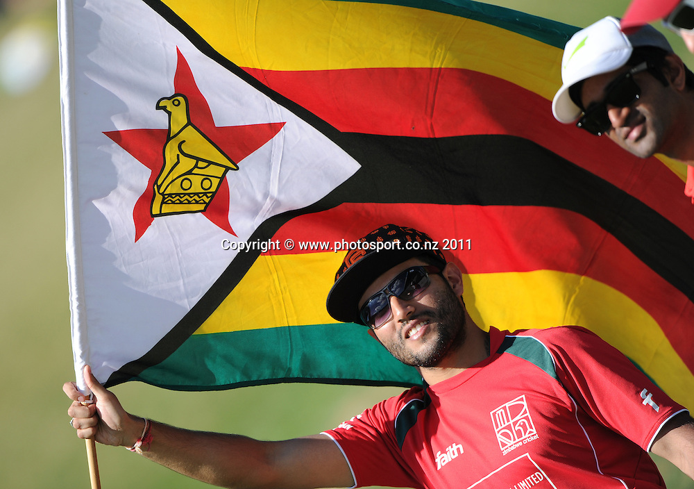 Zimbabwe cricket fans on day 1 of the first cricket test, New Zealand v Zimbabwe at McLean Park. Thursday 26 January 2012. Napier, New Zealand. Photo: Andrew Cornaga/Photosport.co.nz