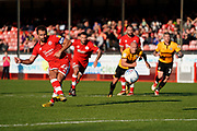 Goal, Filipe Morais of Crawley Town scores from the penalty spot, Crawley Town 2-1 Newport County during the EFL Sky Bet League 2 match between Crawley Town and Newport County at the Broadfield Stadium, Crawley, England on 20 October 2018.