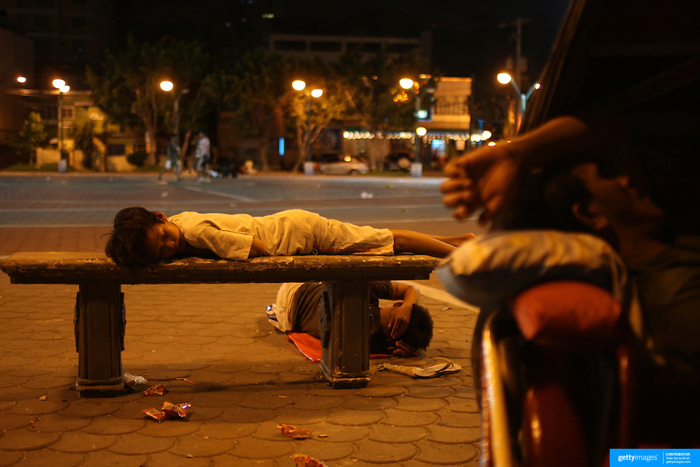 Youths and adults asleep in the street in Malate, Manila on September 18, 2008 in Adriatico Street, Malate, Manila, the Philippines. Photo Tim Clayton