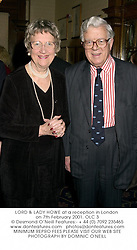 LORD & LADY HOWE at a reception in London on 7th February 2001.	OLC 3