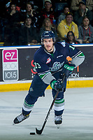 KELOWNA, CANADA - APRIL 30: Mathew Barzal #13 of the Seattle Thunderbirds skates with the puck against the Kelowna Rockets on April 30, 2017 at Prospera Place in Kelowna, British Columbia, Canada.  (Photo by Marissa Baecker/Shoot the Breeze)  *** Local Caption ***