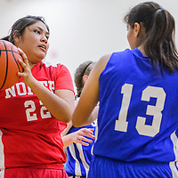 060515       Cable Hoover<br /> <br /> Gallup Bengal Cheyenne Livingston (22) grabs a rebound away Stephanie Gomez (13) of Gadsden during the 5A/6A girls allstar basketball game Friday at Volcano Vista High School in Albuquerque.