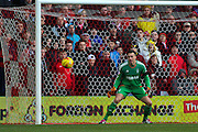 Nottingham Forest goalkeeper Dorus de Vries watches the ball go past him during the Sky Bet Championship match between Nottingham Forest and Huddersfield Town at the City Ground, Nottingham, England on 13 February 2016. Photo by Aaron  Lupton.