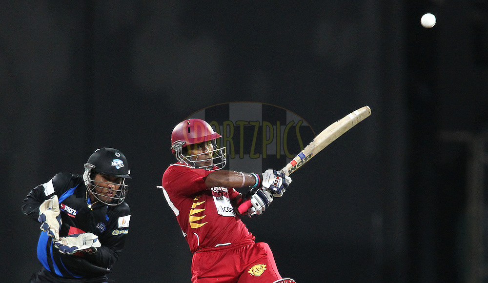 Dilshan Munaweera of Uva Next pulls a delivery during the first Semi Final Match of the Sri Lankan Premier League between Uva Next and Wayamba United held at the Premadasa Stadium in Colombo, Sri Lanka on the 28th August 2012. .Photo by Shaun Roy/SPORTZPICS/SLPL