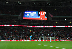 Sign reads inside the Wembley Stadium the attendance of eight two thousand. - Photo mandatory by-line: Alex James/JMP - Mobile: 07966 386802 - 15/11/2014 - SPORT - Football - London - Wembley - England v Slovenia - EURO 2016 Qualifier