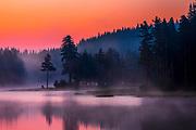 Magic summer dawn by the lake