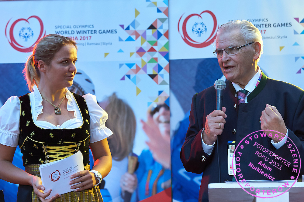 (R) Hermann Kroell speaks while Austria 2017 Reception during third day of the Special Olympics World Games Los Angeles 2015 on July 27, 2015 in Los Angeles, USA.<br /> USA, Los Angeles, July 27, 2015<br /> <br /> Picture also available in RAW (NEF) or TIFF format on special request.<br /> <br /> For editorial use only. Any commercial or promotional use requires permission.<br /> <br /> Adam Nurkiewicz declares that he has no rights to the image of people at the photographs of his authorship.<br /> <br /> Mandatory credit:<br /> Photo by &copy; Adam Nurkiewicz / Mediasport