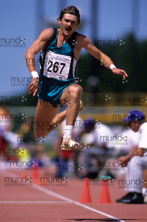 (Bufallo, New York---21 July 1993)   competing in the triple jump at the 1993 World Student Games (FISU). Copyright Sean Burges / Mundo Sport Images, 1993