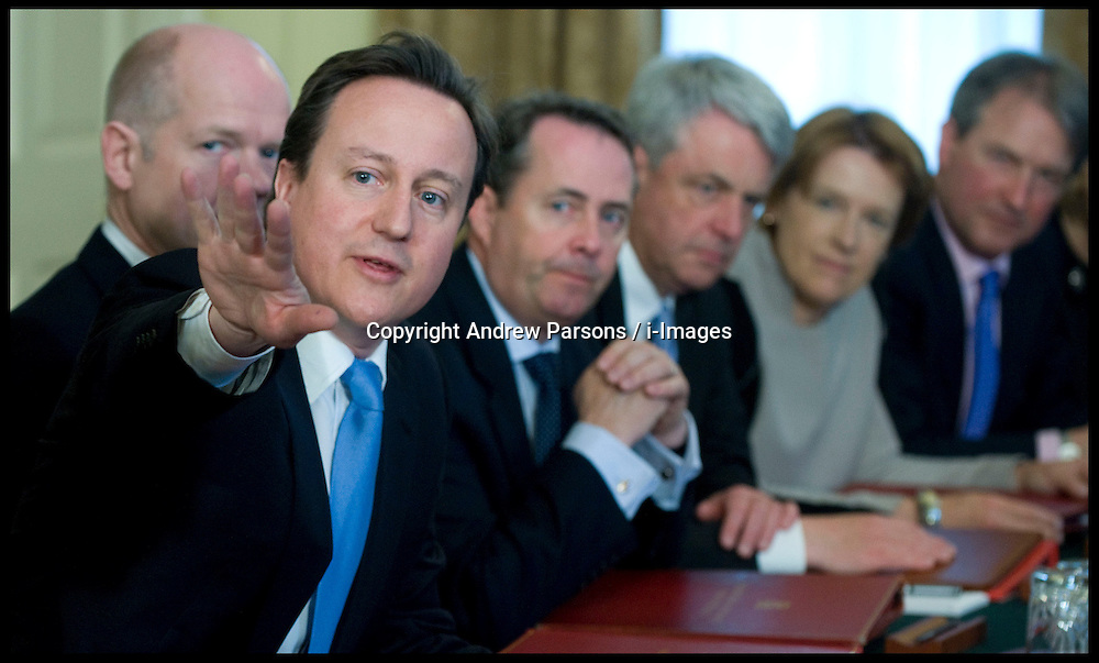 The first Cabinet meeting inside the Cabinet room, 10 Downing Street, London, UK, Thursday May 13, 2010. Photo By Andrew Parsons / i-Images