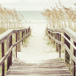Panoramic wood boardwalk walkway beach entrance in Pensacola Beach Florida. Pensacola Beach is on Santa Rosa Island in the Emerald Coast region of the Southeastern United States. Panoramic photo ratio is 1:3.  Copyright ⓒ 2018 Paul Velgos with All Rights Reserved.