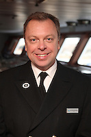 Voyages of Discovery's newly refurbished ship mv Voyager arrives in Portsmouth, UK, ahead of it's naming ceremony on Tuesday..Captain Neil Broomhall - Master, mv Voyager
