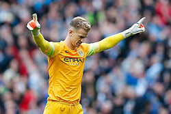 Joe Hart of Manchester City celebrates after Sergio Aguero scores a goal to make it 1-0  - Photo mandatory by-line: Rogan Thomson/JMP - 07966 386802 - 02/11/2014 - SPORT - FOOTBALL - Manchester, England - Etihad Stadium - Manchester City v Manchester United - Barclays Premier League.