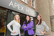 From left: student Annie Fowden; Apex CEO Angela Vickers and student Florencia Gago Bigñe.