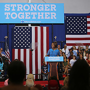 Val Demings speaks at Democratic presidential candidate Hillary Clinton's  campaign stop at the Frontline Outreach Center in Orlando, Fla., on Wednesday, Sept. 21, 2016. (Alex Menendez via AP)