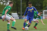 Ajdin Hasic of Bosnia and Herzegovina (10) attacks the Republic of Ireland defenders during the UEFA European Under 17 Championship 2018 match between Bosnia and Republic of Ireland at Stadion Bilino Polje, Zenica, Bosnia and Herzegovina on 11 May 2018. Picture by Mick Haynes.