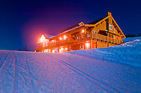 Raven Lodge, the cross-country ski area day lodge at Mount Washington. Comox Valley, Vancouver Island, British Columbia, Canada