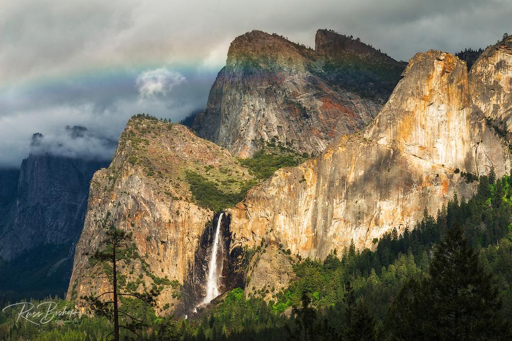 Last light on Bridalveil Fall, Yosemite National Park, California USA