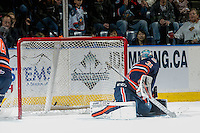 KELOWNA, CANADA - DECEMBER 27: Dylan Ferguson #31 of the Kamloops Blazers misses a save against the Kelowna Rockets on December 27, 2016 at Prospera Place in Kelowna, British Columbia, Canada.  (Photo by Marissa Baecker/Shoot the Breeze)  *** Local Caption ***
