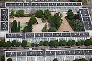 Sarcelles, département du Val-d'Oise (95), le grand stade+Sarcelles Lochères, identical mid rise appartments form quad.