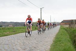 Christine Majerus on the front across the cobbles at Pajot Hills Classic 2017. A 121 km road race on March 29th 2017 in Gooik, Belgium. (Photo by Sean Robinson/Velofocus)