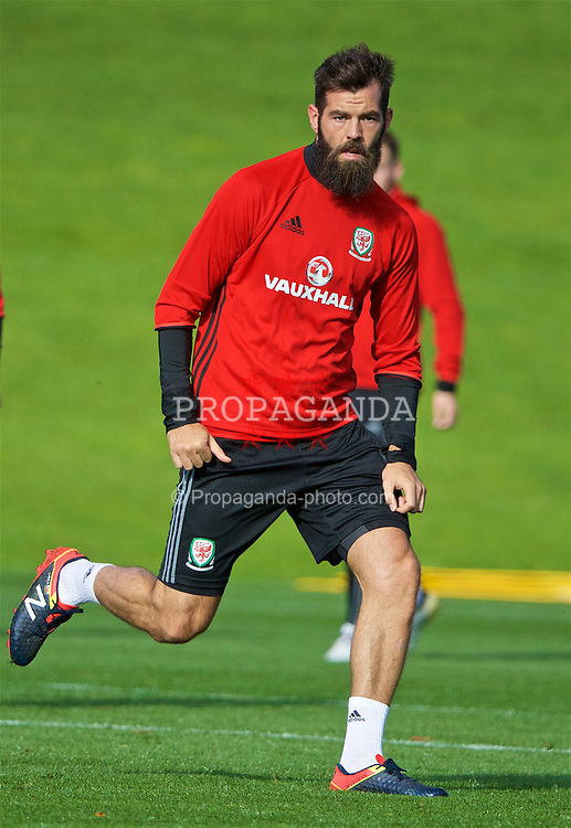 CARDIFF, WALES - Wednesday, October 5, 2016: Wales' Joe Ledley during a training session at the Vale Resort ahead of the 2018 FIFA World Cup Qualifying Group D match against Austria. (Pic by David Rawcliffe/Propaganda)