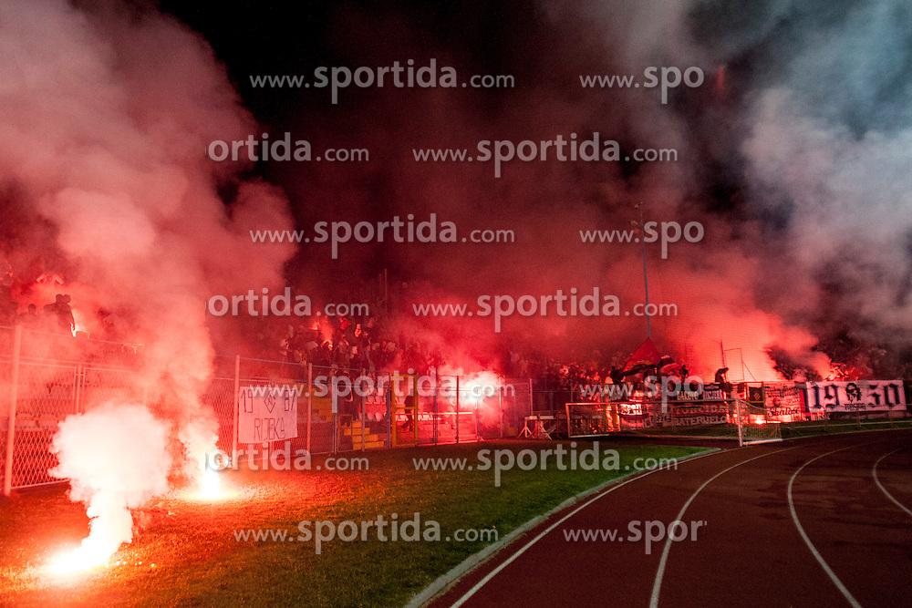 Fans during football match between HNK Rijeka and HNK Hajduk Split in 11th Round of Prva Hrvaska Nogometna Liga MaxTV 2013/14 on September 28, 2013 in Stadion Kantrida, Rijeka, Croatia. (Photo By Urban Urbanc / Sportida.com)