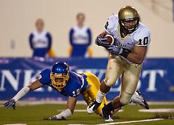 October 10, 2009; San Jose, CA, USA;  Idaho Vandals safety Shiloh Keo (10) breaks a tackle from San Jose State Spartans cornerback Peyton Thompson (19) on a kick returned during the third quarter at Spartan Stadium.  Idaho won 29-25.