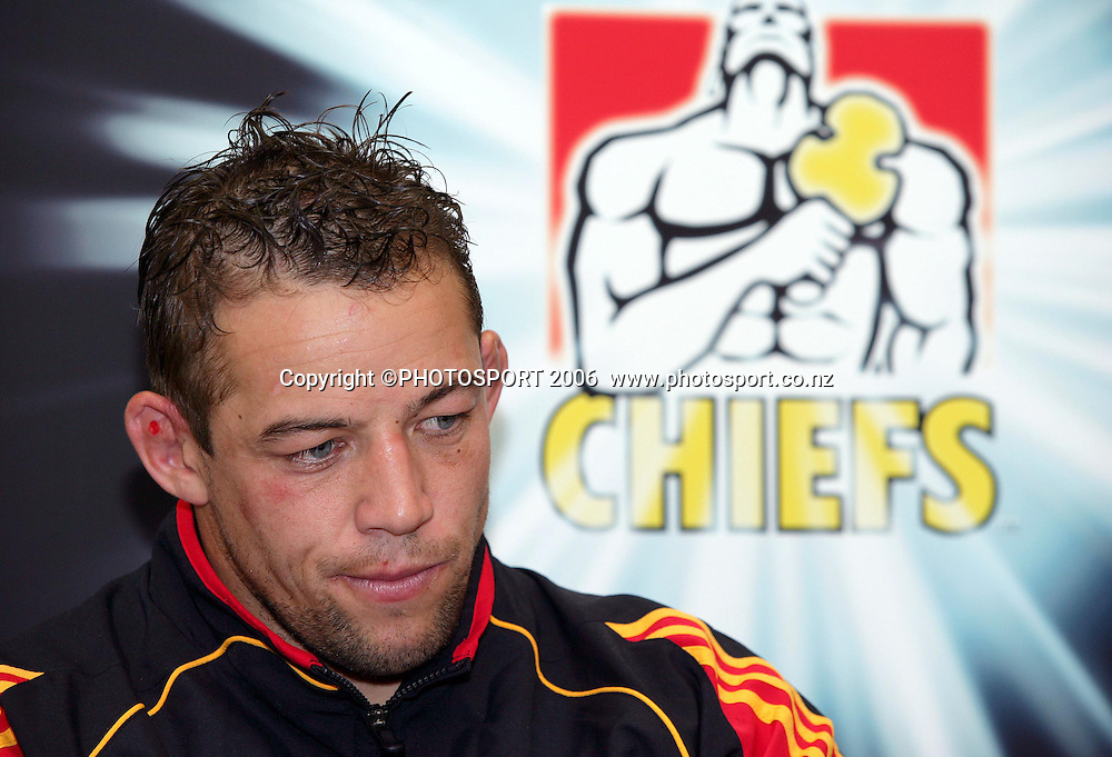 Chiefs captain Jono Gibbes dejected at a  press conference after the Super 14 rugby union match between the Chiefs and the Crusaders, won by the Crusaders 25-19 at Waikato Stadium, Hamilton on Friday 10 March 2006. Photo: Stephen Barker/PHOTOSPORT
