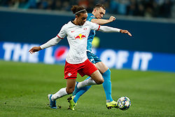 November 4, 2019, Saint Petersburg, USA: SAINT PETERSBURG, RUSSIA - NOVEMBER 05: forward Yussuf Poulsen of RB Leipzig and forward Artyom Dzyuba of FC Zenit vie for the ball during UEFA Champions League match FC Leipzig at FC Zenit on November 05, 2019, at Saint Petersburg Stadium in Saint Petersburg, Russia. (Photo by Anatoliy Medved/Icon Sportswire) (Credit Image: © Anatoliy Medved/Icon SMI via ZUMA Press)