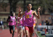Mar 24, 2018; Los Angeles, CA, USA; Robert Ford of Southern California celebrates after winning the 800m in 1:48.97 during the Power 5 Trailblazer challenge at Cromwell Field.