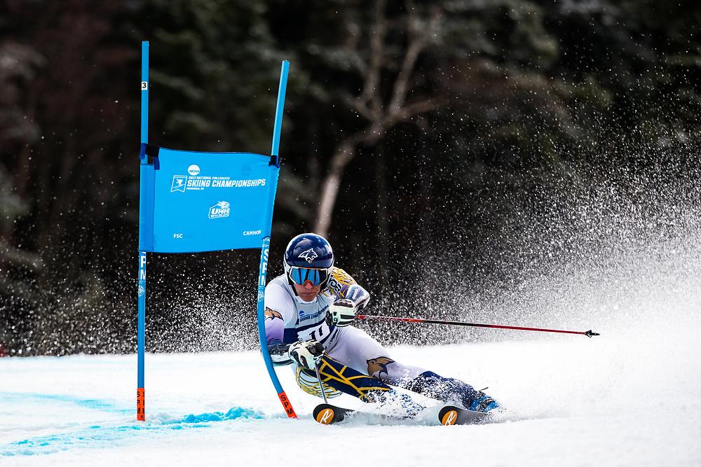 Morten Bakke of Montana State University<br /> Giant Slalom<br /> NCAA Skiing Championships<br /> New Hampshire<br /> March 8, 2017