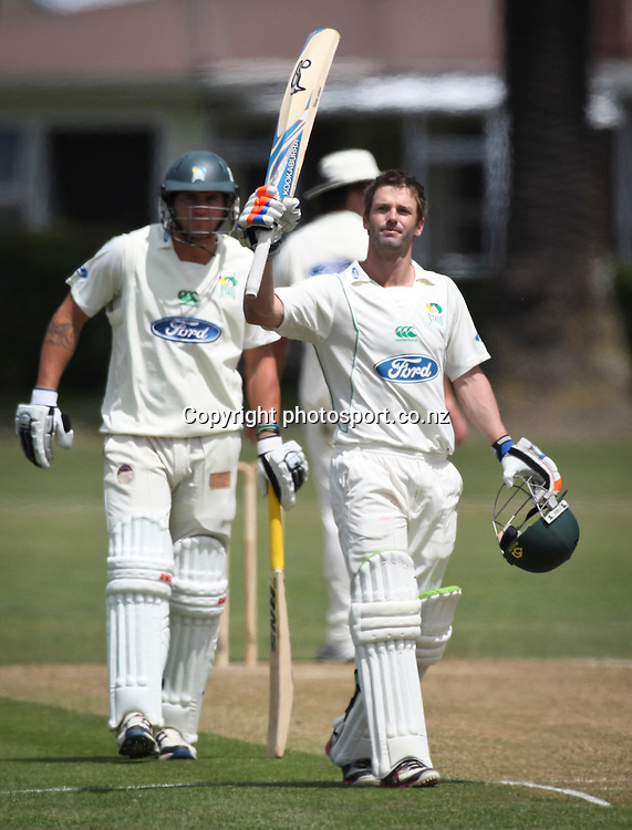 Stag's Carl Cachopa celebrates his century in the Plunket Shield cricket match between the Central Districts Stags and the Auckland Aces at Nelson Park, Napier,  New Zealand. Monday, 05 November, 2012. Photo: John Cowpland / photosport.co.nz