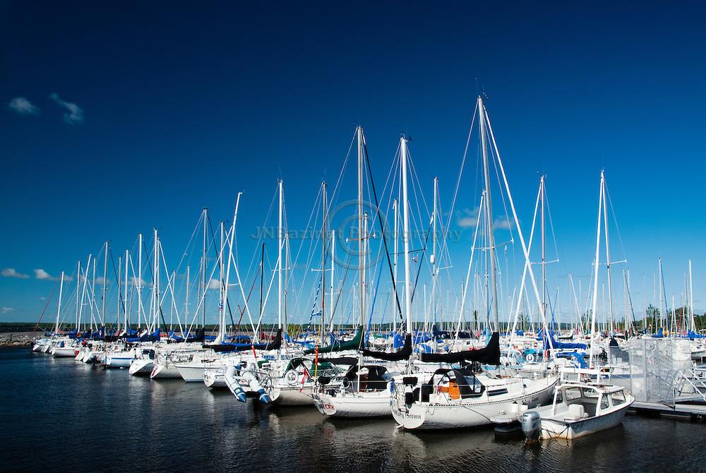 A variety of sailboats moored at the Aylmer Marina in Gatineau, Qc.
