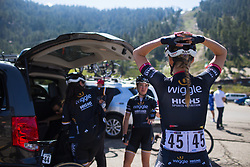Julie Leth (DEN) of Wiggle High 5 Cycling Team prepares for the race on Stage 2 of the Amgen Tour of California - a 108 km road race, starting and finishing in South Lake Tahoe on May 18, 2018, in California, United States. (Photo by Balint Hamvas/Velofocus.com)